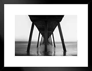 Poster Foundry Under Santa Monica Beach Pier Black and White Infrared Exposure Photo Matted Framed Wall Art Print 26x20 inchx Inch
