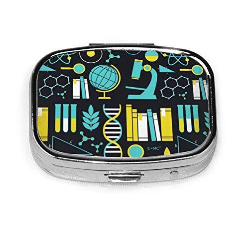 Pastillero – Caja de píldoras de biología química física física de ciencia matemática, portátil rectangular de metal plateado, compacto 2 espacios, pastilleros para viaje/bolsillo/monedero