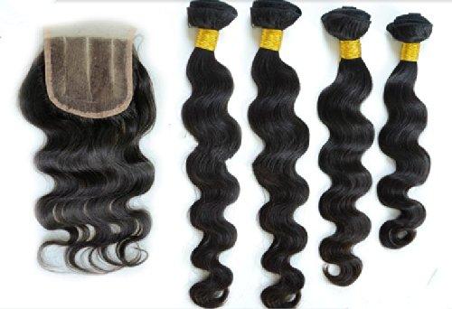 DaJun Hair 7A 3 Hair Bundles With Lace Closures 3 Way Part Malaysian Virgin Remy Human Hair Body Wave Natural Color (trademark:DaJun)20'closure+20'22'24'weft