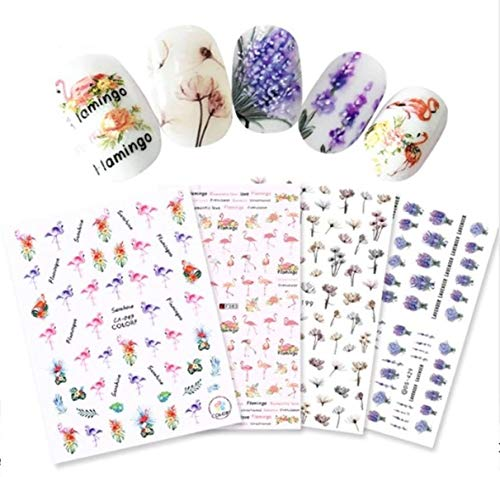 4 Pc Flamingo Lavender Dried Flower Nail Art Stickers Manicure DIY Tips Professional Girls Stamping Plates Delightful Popular Glitter Decals Nails Wraps Kits
