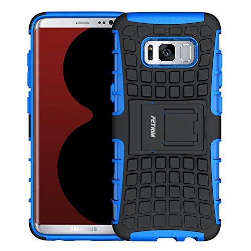Coque pour Samsung Galaxy S8, Fetrim Armure Support TPU Silicone + Plastique Protection Étui,Anti Chocs Bumper Hybride Protection Housse Cover pour Samsung Galaxy S8 - Bleu