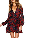UGUEST Women Long Sleeve V Neck Dress Floral Swing Party Wedding Dress with Belt Charcoal Red M