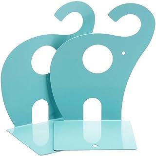 Gearmax® 1 par söta elefanter nonskid bokstöd, metallkonst boendrar (havsblå)