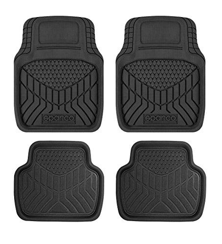 4 stuks universeel zwart tapijt 3D (3 lagen), PVC. Vormbaar.