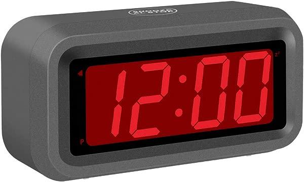 SUPLEDCK Digital Alarm Clock Battery Operated Bedside Home Time Clock Night Visible Grey