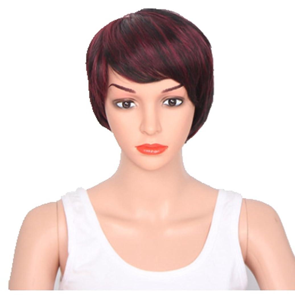 タッチみ幻想Doyvanntgo 高温シルクショートウィッグカラーミックスドヘアスタイル斜めバンズ (Color : Wine red)