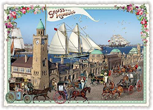 Nostalgische Postkarte Ansichtskarte * Hamburg Landungsbrücken * Glitzer