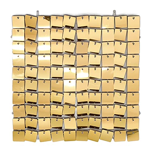 Shimmer Wall Backdrop, UNIIDECO 24 Pieces Fiesta Decoration Large Sequin Wall Panels, Birthday Baby Shower Wedding Event Party Decor Shimmer Shine Curtains, Advertising Signs Home Decor (Gold)