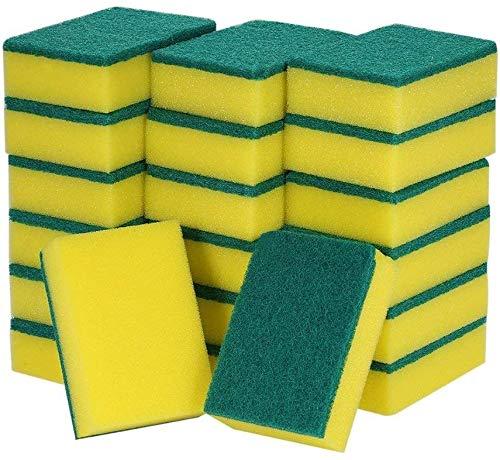 AOI Esponjas Multiusos de Doble Cara Almohadillas para Fregar Lavado de Platos Fregado Manchas de Esponja Eliminación del Cepillo de Limpieza para el baño en el Garaje de la Cocina (20 Unidades)