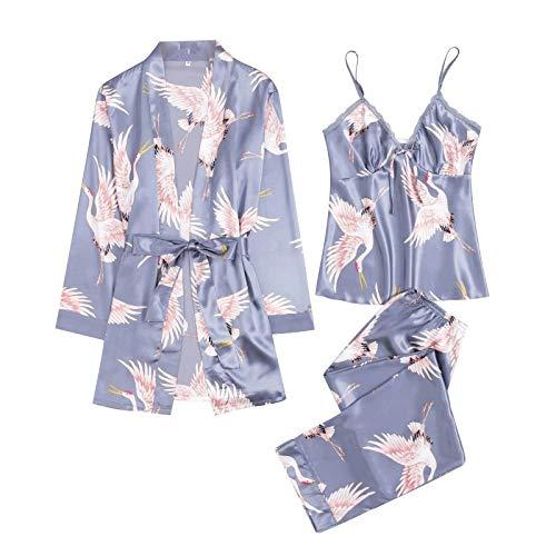 MianYaLi Conjunto Pijamas Mujer Verano Batas de Seda 3 Piezas Sets Camisola de Tiras Pantalones y Calzoncillos Kimono Cuello V Larga Chaleco de Encaje Ropa de Dormir Vestido de Cama (Azul, XXL)