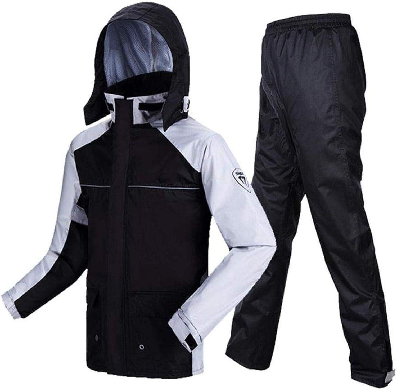 Rain Suits Men's Raincoat Rain Pants Windproof Waterproof Jacket WearResistant Breathable Outdoor Hiking Riding Climbing Split Suit (color   Black, Size   XXL)