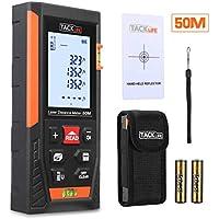 Telémetro láser, Tacklife HD 50m con rango distancia de medida 0,05~50m /±1,5mm, pantalla retroiluminada LCD con 2burbujas de nivel Medidor Láser con función silencio y rápida medición