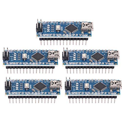 Entwicklungsplatine, Chacerls Nano-Platine 5-teilig Nano V3.0 ATmega328P-Mikrocontroller-Platinenmodul 5V 16M für Arduino