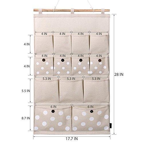 AKDSteel Home-Cube? Borsa portaoggetti in Lino e Cotone, 13 Tasche, da Appendere alla Parete, alla Porta, all'armadio, a Pois Bianchi, a Righe Blu Navy (Pois Bianchi) per Le Vacanze di Natale