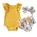Anmino Baby Mädchen Strampler Sets, Rüschen Kurzarm Bodysuit Blumendruck Kurze Hosen Schleife Stirnband Sommer Outfits Kleidung Set Für Kleinkind Mädchen