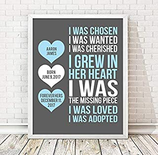 Adoption Paper Art Print | Adoption Gift | Gotcha Gift | Gotcha Day | Adoptive Parents Gift |Gotcha Day - Adoption Gift Personalized Art Child Keepsake Gift Boys Girls Adopt Adopted Present