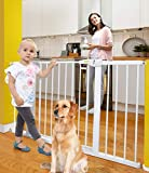Baby Gates for Doorways and Stairs Dog Gates for The House with Walk Through Door,30-51.5 inches,Indoor Safety Gates for Kids or Pets,Extra Wide Metal Gate Pressure Mount Auto Close