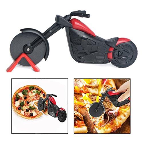 OFKPO Edelstahl Pizzaschneider,Kreativ Motorrad Form Pizzaschneider/Pizzamesser