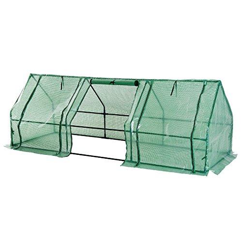 HOMCOM Mini Serre de Jardin 270L x 90l x 90H cm Acier PE Haute densité 140 g/m² Anti-UV 3 fenêtres avec Zip enroulables Vert