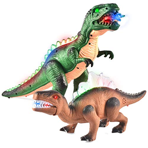 JOYIN 2 Stück LED Leuchten Walking Dinosaurier, Realistische Elektronik T-Rex Dino Spielzeug mit Gehen, Brüllen, leuchtenden Augen