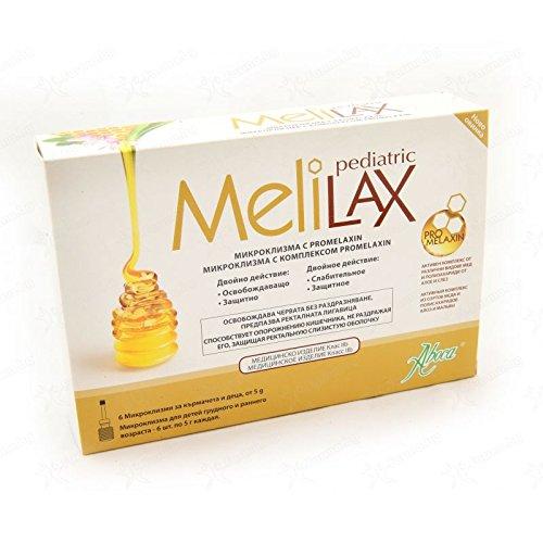 Aboca Melilax Pediatric 6 Micro Enemas X 5g. With Promelaxin for Baby & Childrens Honey