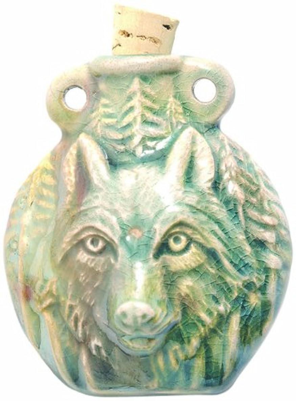 Shipwreck Beads Peruvian Hand Crafted Ceramic Raku Glazed Wolf Bottle Pendant, 49mm