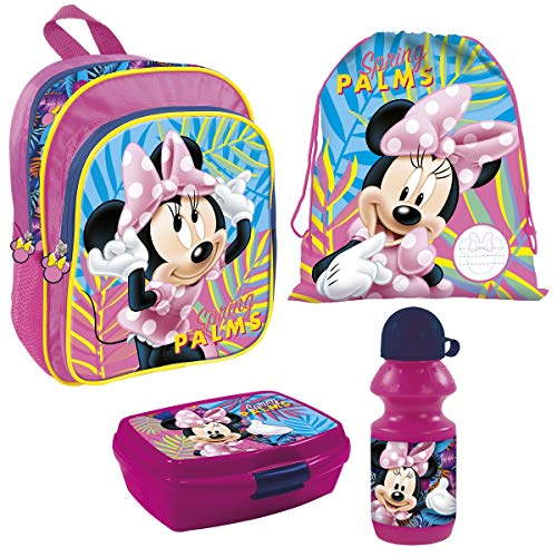 Familando Mädchen Rucksack-Set 4tlg. mit Brotdose, Trinkflasche und Turnbeutel für Kinder-Garten / Krippe Rosa Disney Minnie Maus Minni Mouse