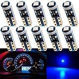 Grandview 10pcs Bleu T5 Ampoules LED 74 70 37 2721 3528 1-3030-SMD pour Intérieur de...