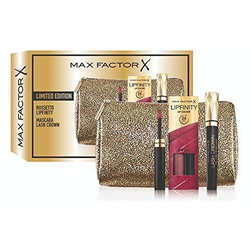 Max Factor confezione regalo Rossetto Lipfinity 70 Spicy, Mascara Lash Crown e beauty case in omaggio