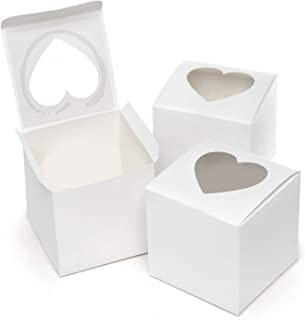 Hortense B. Hewitt Wedding Accessories, Cupcake Favor Boxes with Heart Shape Windows, 3-Inches Square, Pack of 24