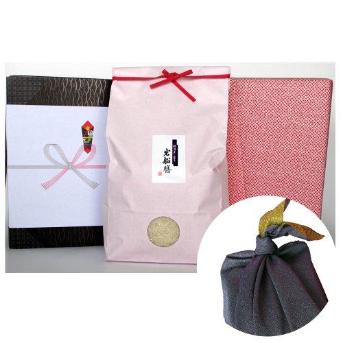 新潟県産コシヒカリ (有機肥料・米袋:ピンク・包装紙:赤・風呂敷:青)3キロ