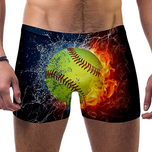 Lorvies Sport-Baseball in Wasser und Feuer Herren Schwimm-Boxershorts, kurz, quadratische Beine, Badeanzug, schnell trocknend, Größe S Gr. L/XL, multi