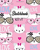 Sketchbook: Trendy Blank Journal for Painting, Drawing, Sketching, Writing & Doodling - 8x10, 100 Pages Notebook & Sketch Pad - Adorable Cartoon Kitty Cat Pattern