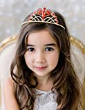 SWEETV Elena of Avalor Princess Tiara for Girls, Birthday Tiara Gift for Kids, Red Crystal Wedding Crown for Flower Girls, Child Costume Headpiece Dress-up Accessories