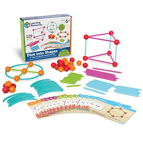 Product Image of the Learning Resources Dive into Shapes! A 'Sea' and Build Geometry Set, 129 Pieces,...