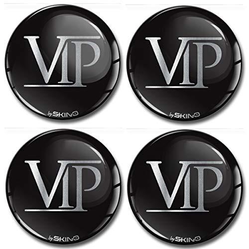 SkinoEu® 4 x 60mm Autocollant 3D Silicone Cache-Moyeu Capuchons de Centre Enjoliveurs de Roue Voiture Cache Moyeux Jante Universel Cache-Moyeux Logo VIP A 6360