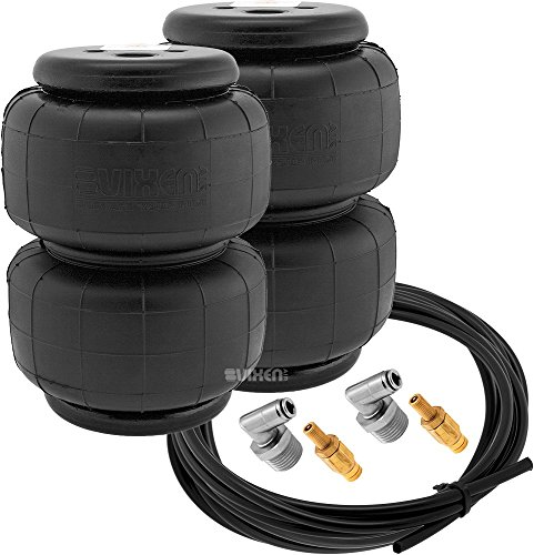 Vixen Air 1/2' NPT Single Air Port Suspension Air Spring/Air Bag Dual Pack with Fittings, Schrader Valves and 20FT Hose VXD2514S