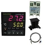 Inkbird PID Termostato Digital ITC-100VH 220v, Doble Relés Control de Temperatura Refrigeración y Calefacción+ K Sonda + 25DA SSR+ Radiador Negro para Invernadero, Coche, Acuarios