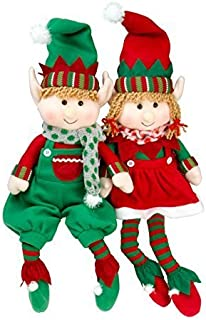 """SCS Direct Elf Plush Christmas Stuffed Dolls, Set of 2 - 18"""" Boy and Girl Elves Holiday Plush Toys - Fun Decorations and G..."""