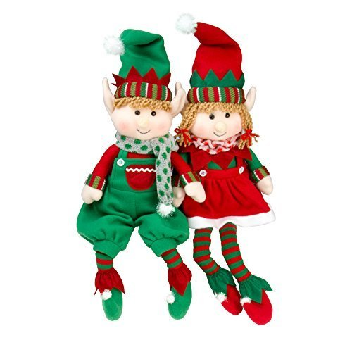SCS Direct Elf Plush Christmas Stuffed Dolls, Set of 2 - 18' Boy and Girl Elves Holiday Plush Toys - Fun Decorations and Gifts for Kids