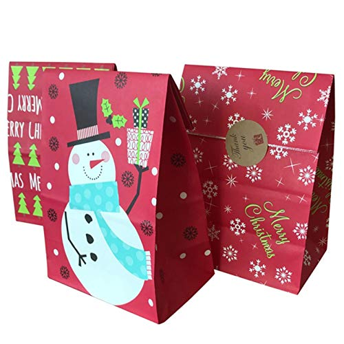 cangzhoushiWright Lew bekwame 50/10 Stks Kraft Papier Tassen Popcorn Tas Snoep Doos Kerstmis Goodie Tassen Papier Gift Tassen Papier Kerstmis Verpakking Snoepjes Popcorn Doos