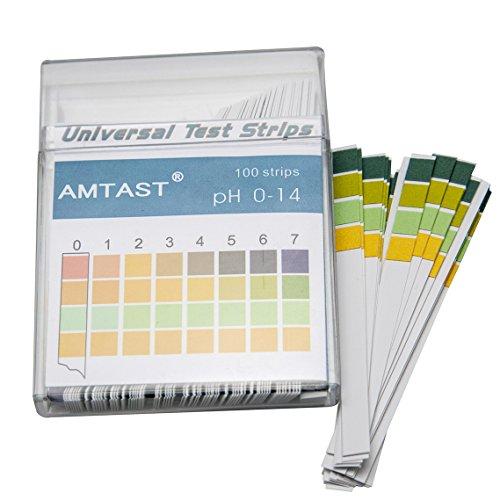 AMTAST Universal pH Test Strips Acid Alkaline pH Level Test Strips, Full pH Range 0-14 (100 Strips)