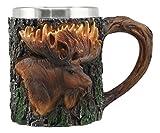 Ebros The Emperor Woodlands Bull Moose Mug Textured With Rustic Tree Bark Design 12oz Drink Beer Stein Tankard Coffee Cup