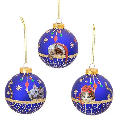 Kurt S. Adler Royal Blue Cat Ball 3 inch Glass Decorative Hanging Ornament Set 6
