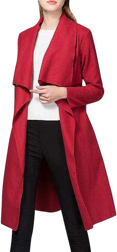 NREALY Chaqueta Womens Winter Lady Solid Color Irregular Belt Coat Cardigan Outerwear