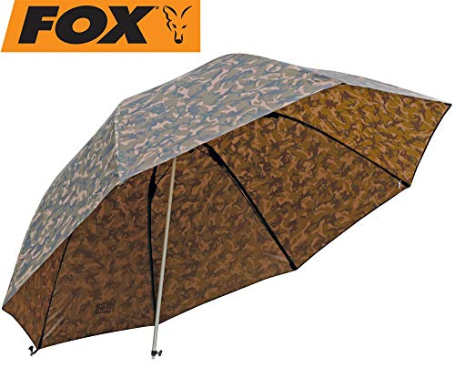 FOX Camo Brolly 60' - Angelschirm zum Ansitzangeln auf Karpfen, Forellen & Friedfische, Schirm zum Karpfenangeln, Anglerschirm