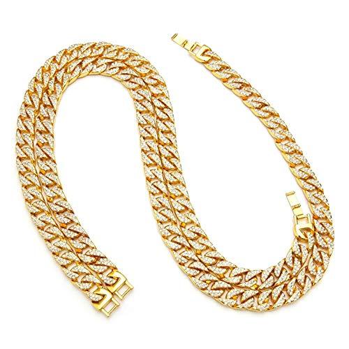 Daesar Collar Cadena Oro Hombre Cadena Curb Circonita Blanca Collar de Cadena Acero Inoxidable 13mm Colgante Cadena Hombre 50-75cm
