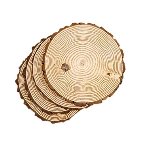 4 Pack Round Rustic Woods Slices, 10'-12', Unfinished Wood, Great for Weddings Centerpieces, Crafts