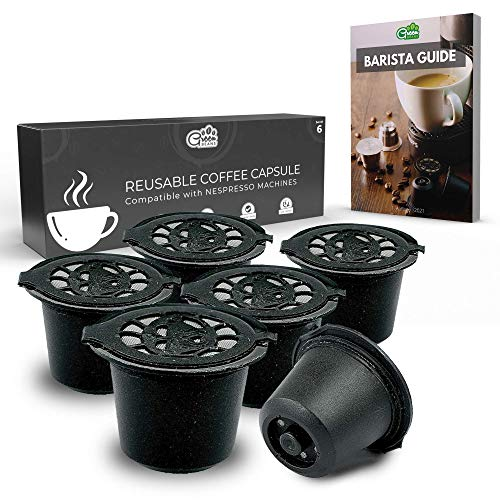 Green BEANS Cápsula de café de plástico reutilizable con colador de acero inoxidable para cafeteras NESPRESSO Juego de 6 + Guía del barista GRATIS [E-Book]