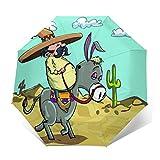 SUHETI Paraguas automático de Apertura/Cierre,Hombre Mexicano con Sombrero Sombrero Montando un Burro en el Desierto con Plantas de Cactus,Paraguas pequeño Plegable a Prueba de Viento